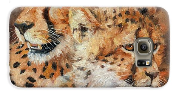 Cheetah And Cub Galaxy S6 Case by David Stribbling