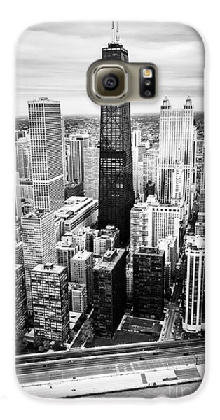 Chicago Aerial With Hancock Building In Black And White Galaxy S6 Case by Paul Velgos