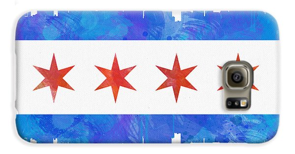 Chicago Flag Watercolor Galaxy S6 Case by Mike Maher