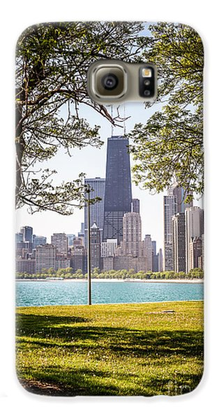 Chicago Skyline And Hancock Building Through Trees Galaxy S6 Case by Paul Velgos