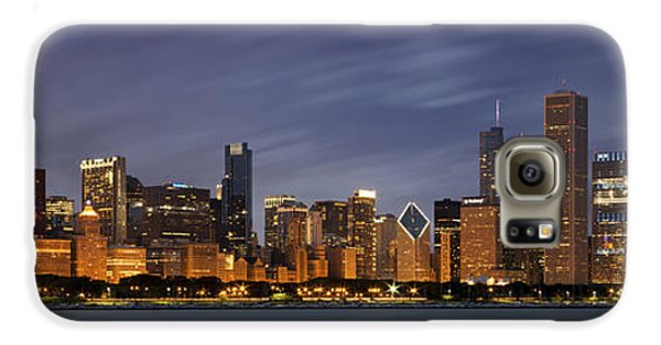 Chicago Skyline At Night Color Panoramic Galaxy S6 Case by Adam Romanowicz