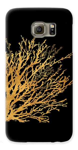 Coastal Coral On Black II Galaxy S6 Case by Lanie Loreth