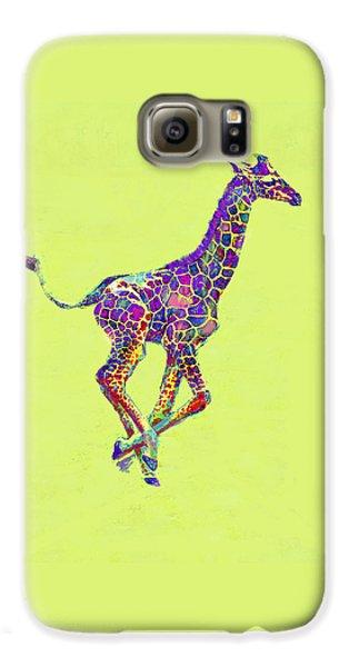 Colorful Baby Giraffe Galaxy S6 Case by Jane Schnetlage