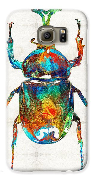 Colorful Beetle Art - Scarab Beauty - By Sharon Cummings Galaxy S6 Case by Sharon Cummings