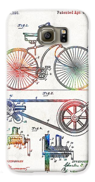 Colorful Bike Art - Vintage Patent - By Sharon Cummings Galaxy S6 Case by Sharon Cummings