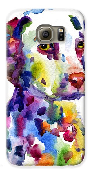 Colorful Dalmatian Puppy Dog Portrait Art Galaxy S6 Case by Svetlana Novikova