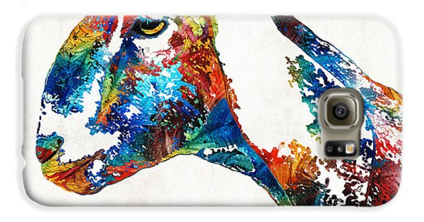 Colorful Goat Art By Sharon Cummings Galaxy S6 Case by Sharon Cummings