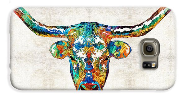 Colorful Longhorn Art By Sharon Cummings Galaxy S6 Case by Sharon Cummings