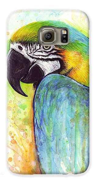 Macaw Painting Galaxy S6 Case by Olga Shvartsur
