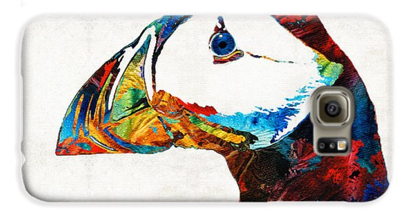 Colorful Puffin Art By Sharon Cummings Galaxy S6 Case by Sharon Cummings