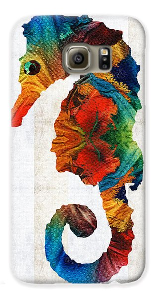 Colorful Seahorse Art By Sharon Cummings Galaxy S6 Case by Sharon Cummings