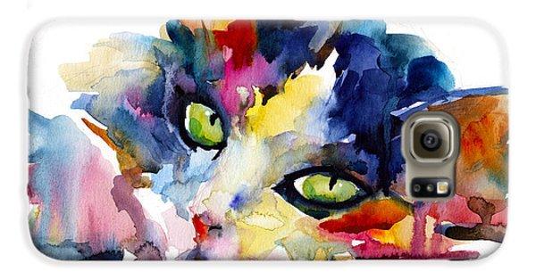 Colorful Tubby Cat Painting Galaxy S6 Case by Svetlana Novikova