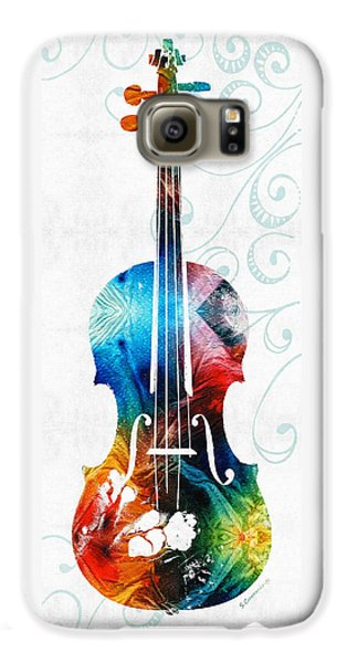 Colorful Violin Art By Sharon Cummings Galaxy S6 Case by Sharon Cummings