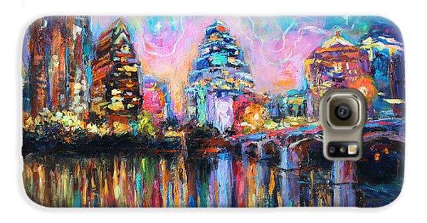 Contemporary Downtown Austin Art Painting Night Skyline Cityscape Painting Texas Galaxy S6 Case by Svetlana Novikova