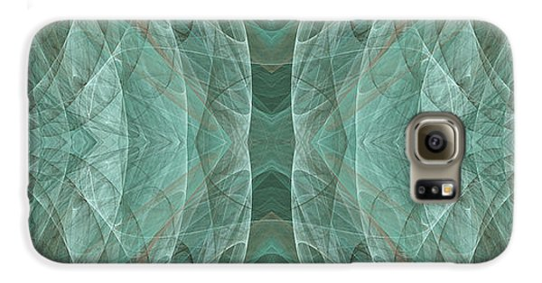 Crashing Waves Of Green 2 - Panorama - Abstract - Fractal Art Samsung Galaxy Case by Andee Design