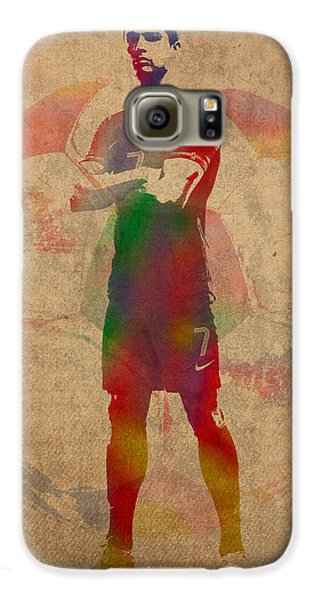 Cristiano Ronaldo Soccer Football Player Portugal Real Madrid Watercolor Painting On Worn Canvas Galaxy S6 Case by Design Turnpike