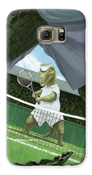 Crocodiles Playing Tennis At Wimbledon  Galaxy S6 Case by Martin Davey