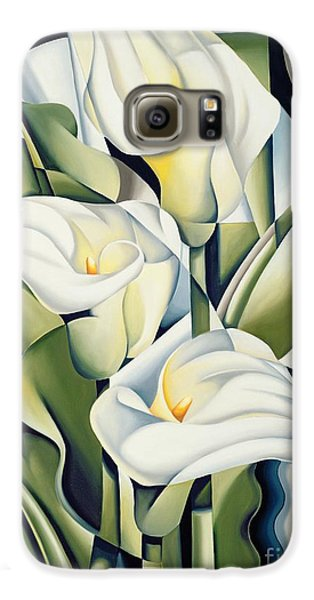 Cubist Lilies Galaxy S6 Case by Catherine Abel