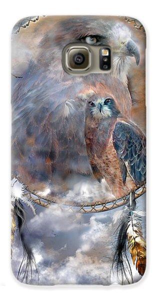 Dream Catcher - Hawk Spirit Galaxy S6 Case by Carol Cavalaris