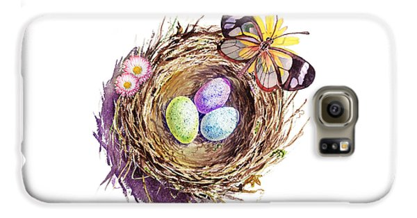 Easter Colors Bird Nest Galaxy S6 Case by Irina Sztukowski