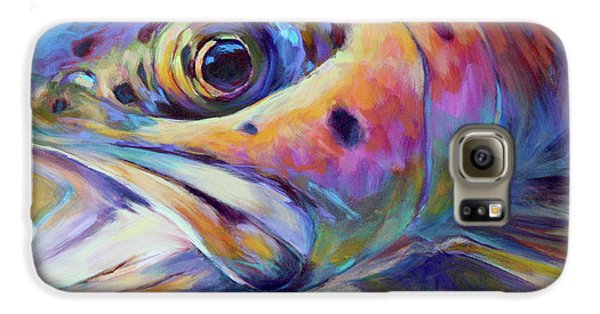 Face Of A Rainbow- Rainbow Trout Portrait Galaxy S6 Case by Savlen Art