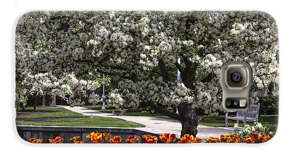 Flowers And Bench At Michigan State University  Galaxy S6 Case by John McGraw