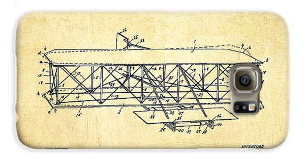 Flying Machine Patent Drawing From 1906 - Vintage Galaxy S6 Case by Aged Pixel