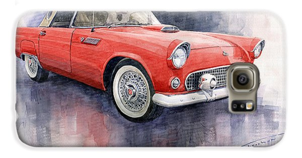 Ford Thunderbird 1955 Red Galaxy S6 Case by Yuriy  Shevchuk