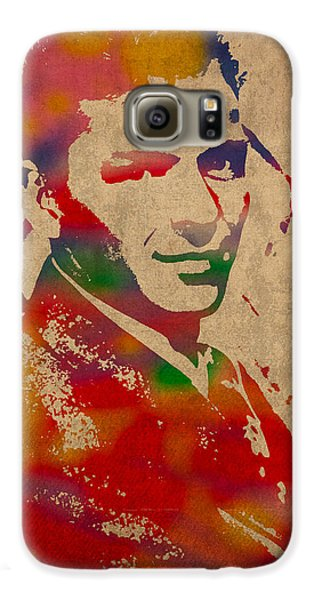 Frank Sinatra Watercolor Portrait On Worn Distressed Canvas Galaxy S6 Case by Design Turnpike