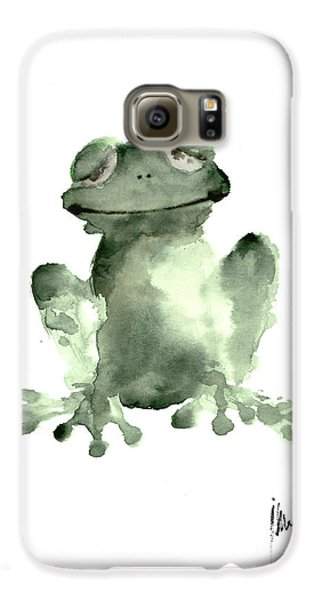 Frog Painting Watercolor Art Print Green Frog Large Poster Galaxy S6 Case by Joanna Szmerdt