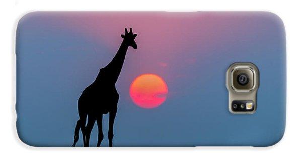 Giraffe At Sunset Chobe Np Botswana Galaxy S6 Case by Andrew Schoeman