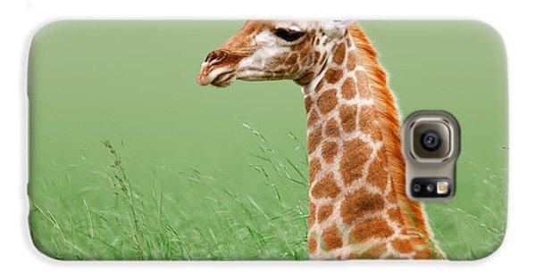 Giraffe Lying In Grass Galaxy S6 Case by Johan Swanepoel
