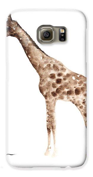 Giraffe Watercolor Art Print Painting African Animals Poster Galaxy S6 Case by Joanna Szmerdt