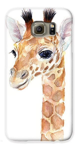 Giraffe Watercolor Galaxy S6 Case by Olga Shvartsur
