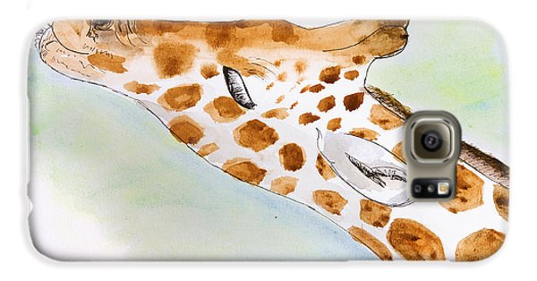 Giraffe With Tongue Out Galaxy S6 Case by Pati Photography