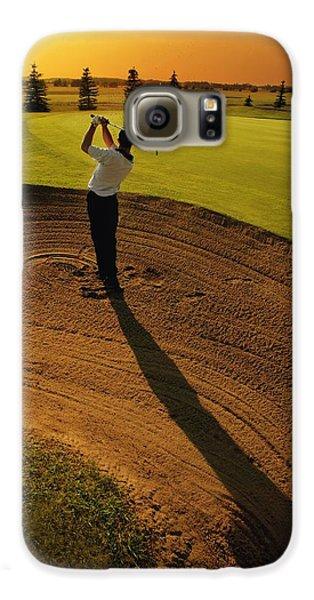 Golfer Taking A Swing From A Golf Bunker Galaxy S6 Case by Darren Greenwood