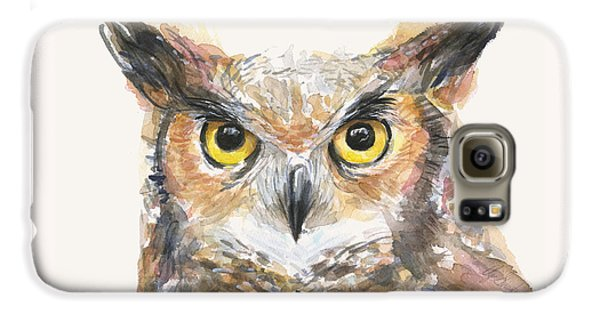 Great Horned Owl Watercolor Galaxy S6 Case by Olga Shvartsur