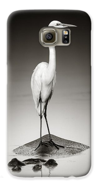 Great White Egret On Hippo Galaxy S6 Case by Johan Swanepoel