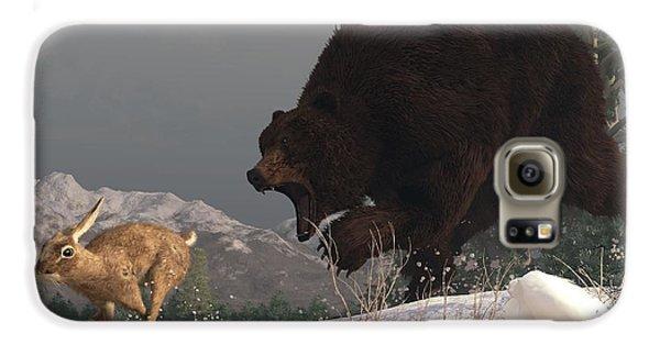 Grizzly Bear Chasing Rabbit Galaxy Case by Daniel Eskridge