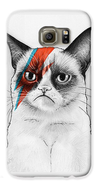 Grumpy Cat As David Bowie Galaxy S6 Case by Olga Shvartsur