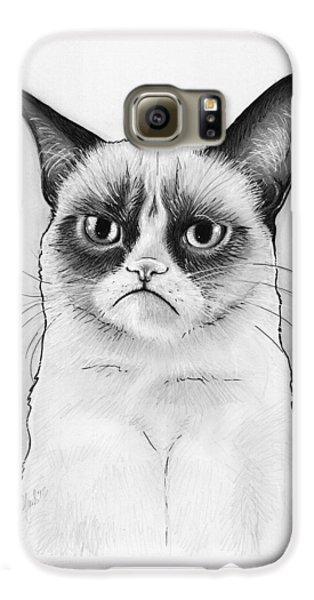 Grumpy Cat Portrait Galaxy S6 Case by Olga Shvartsur