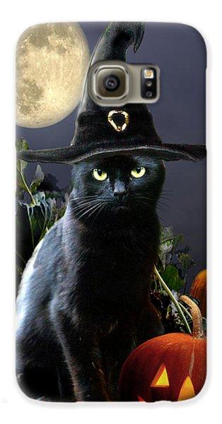 Witchy Black Halloween Cat Galaxy S6 Case by Regina Femrite