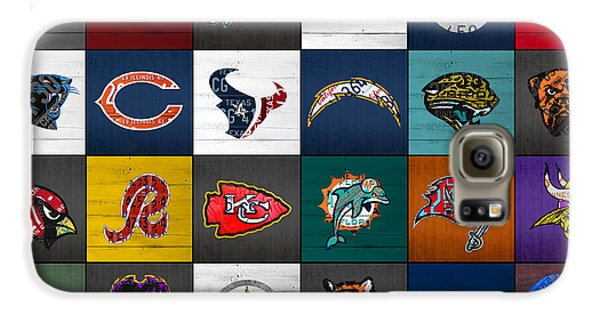 Hit The Gridiron Football League Retro Team Logos Recycled Vintage License Plate Art Galaxy S6 Case by Design Turnpike