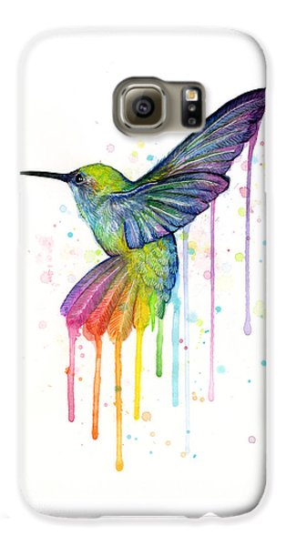 Hummingbird Of Watercolor Rainbow Galaxy S6 Case by Olga Shvartsur
