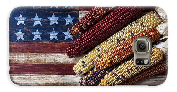 Indian Corn On American Flag Galaxy S6 Case by Garry Gay