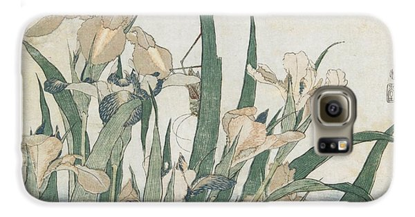 Iris Flowers And Grasshopper Galaxy S6 Case by Hokusai