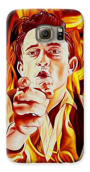 Johnny Cash And It Burns Galaxy S6 Case by Joshua Morton