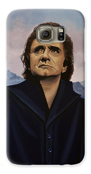Johnny Cash Painting Galaxy S6 Case by Paul Meijering