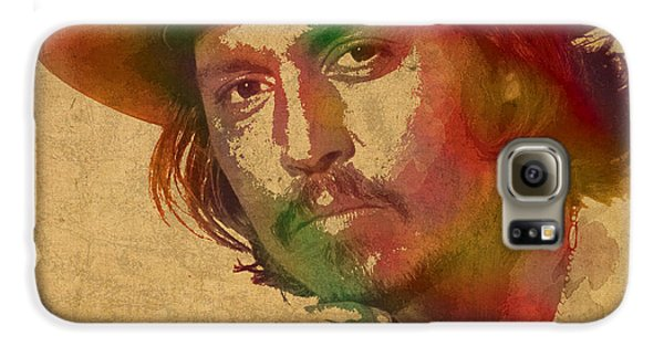 Johnny Depp Watercolor Portrait On Worn Distressed Canvas Galaxy S6 Case by Design Turnpike
