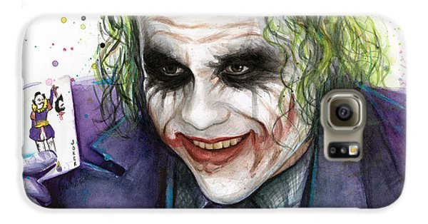 Joker Watercolor Portrait Galaxy S6 Case by Olga Shvartsur